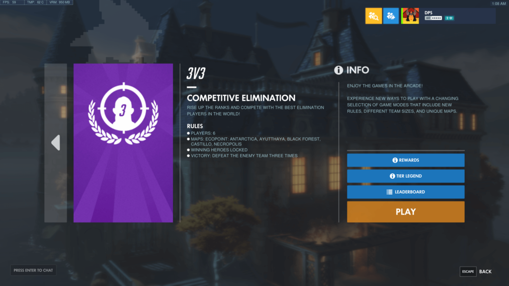 3v3 competitive elimination overwatch
