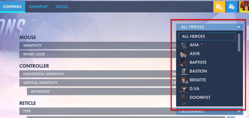 heroes settings overwatch