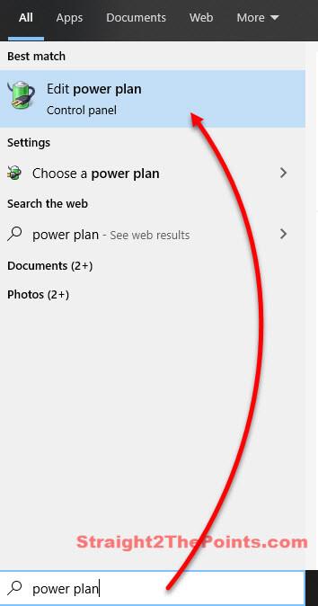 Open Edit power plan in Windows 10 for laptop