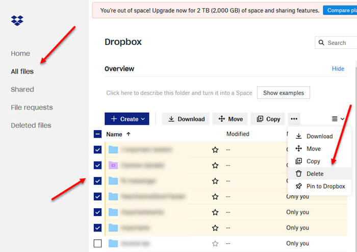 dropbox is full how to delete