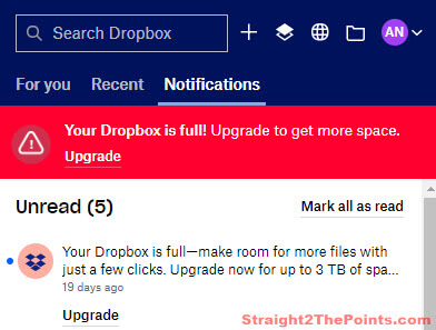 dropbox is full message