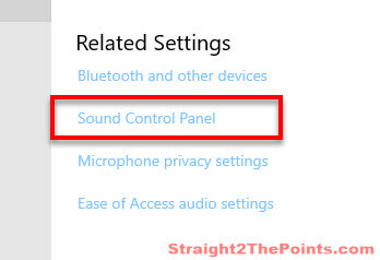 how to open sound control panel in Windows 10